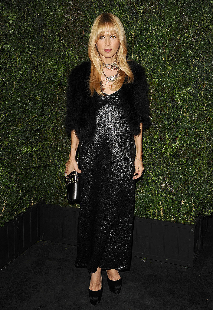 Rachel Zoe shimmered in a black embellished gown and cropped jacket, striking the right mix of bohemian quirk and all-out glamour at the Chanel dinner.