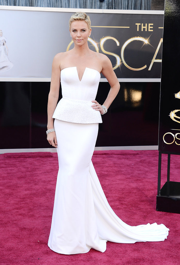 Charlize Theron chose a stark white Christian Dior Haute Couture structured gown.