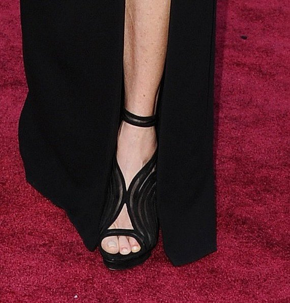 Steven Spielberg's wife, Kate Capshaw, completed her black gown with a pair of sexy black cutout sandals.