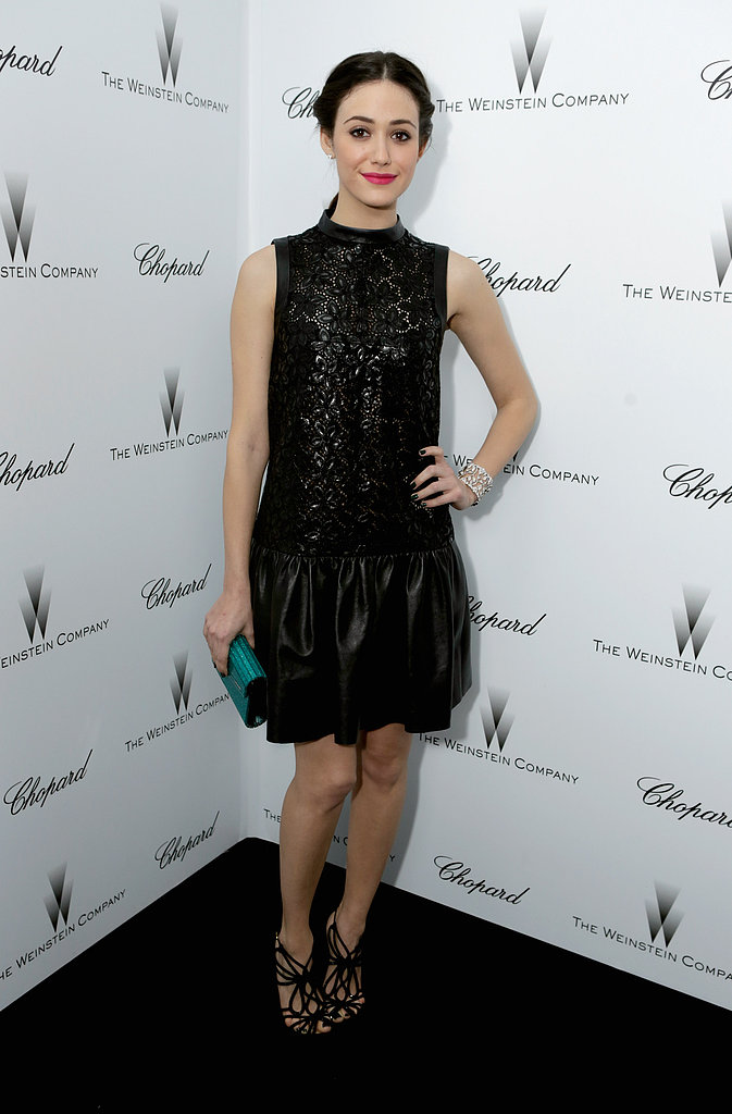 Emmy Rossum also went with black for the Weinstein affair. She chose a sleeveless leather minidress, which she matched with strappy sandals and a green clutch.