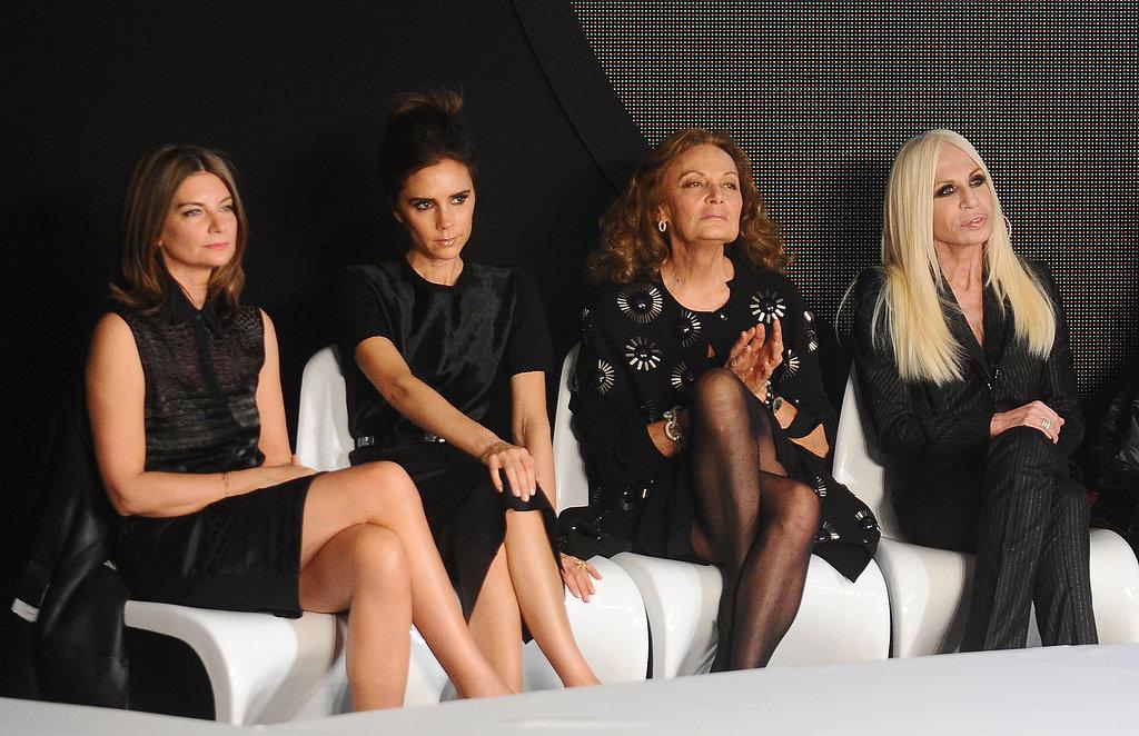 Victoria Beckham judged the Woolmark Prize with Diane von Fustenberg, Donatella Versace, and Natalia Massenet on Saturday evening.