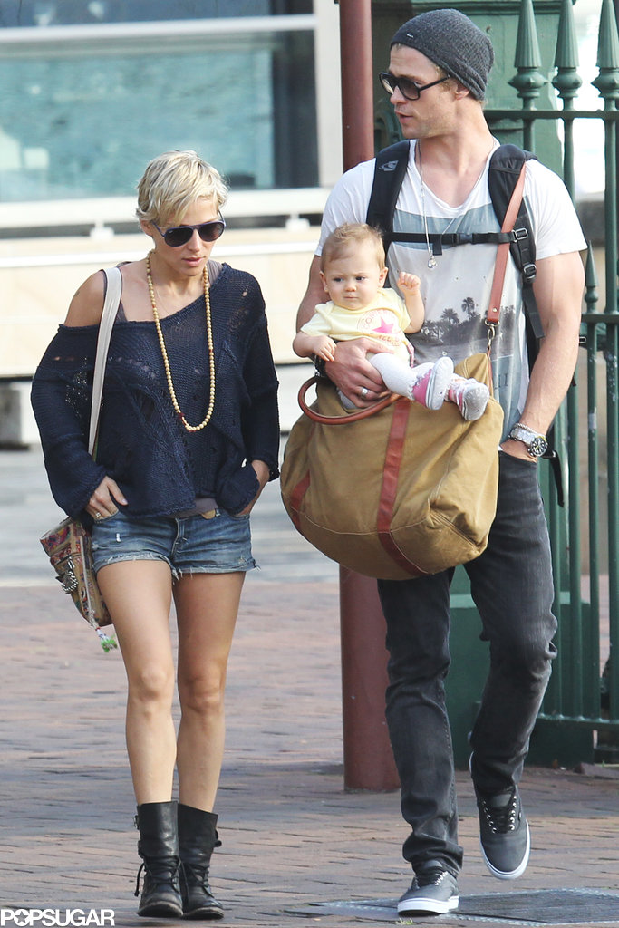 Chris Hemsworth and Elsa Pataky walked with baby India Hemsworth in Sydney, Australia.