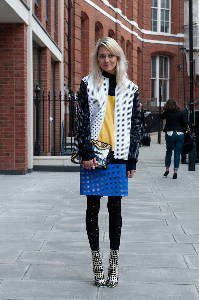 A mix and match of perforated separates gave this look a futuristic feel.