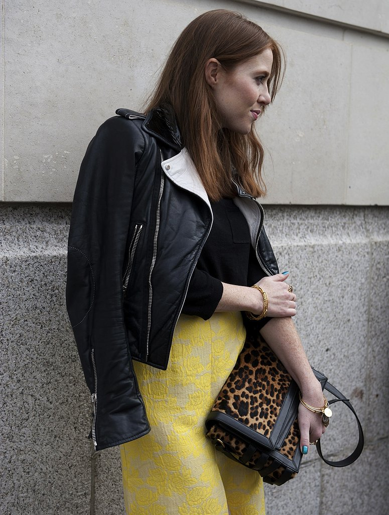A leopard-print bag injected an edgy finish to a feminine skirt.