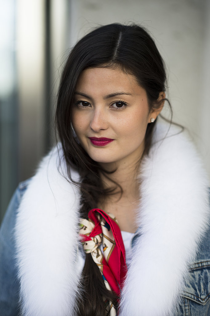 Peony Lim tied a head scarf in her braid for a glamorous accent. Source: Le 21ème   Adam Katz Sinding