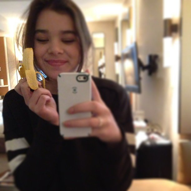 Hailee Steinfeld snapped a photo of her unusually small snack. Source: Instagram user haileesteinfeld