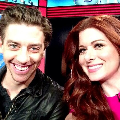 Debra Messing and Christian Borle got cozy while doing press for Smash. Source: Twitter user DebraMessing