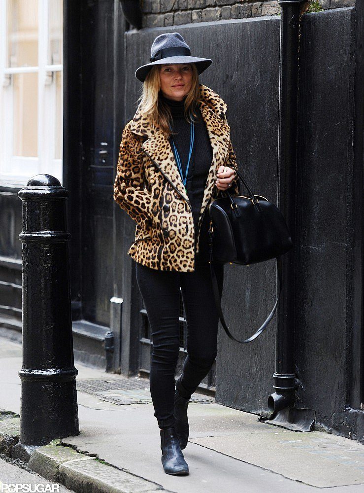 Kate perfected her downtown London look in a leopard-print coat and a gray fedora.