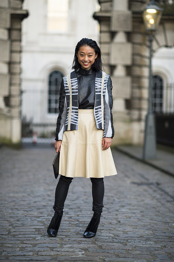 Shades of buttery and black leather played off of each other in this street-chic ensemble. Source: Le 21ème   Adam Katz Sinding