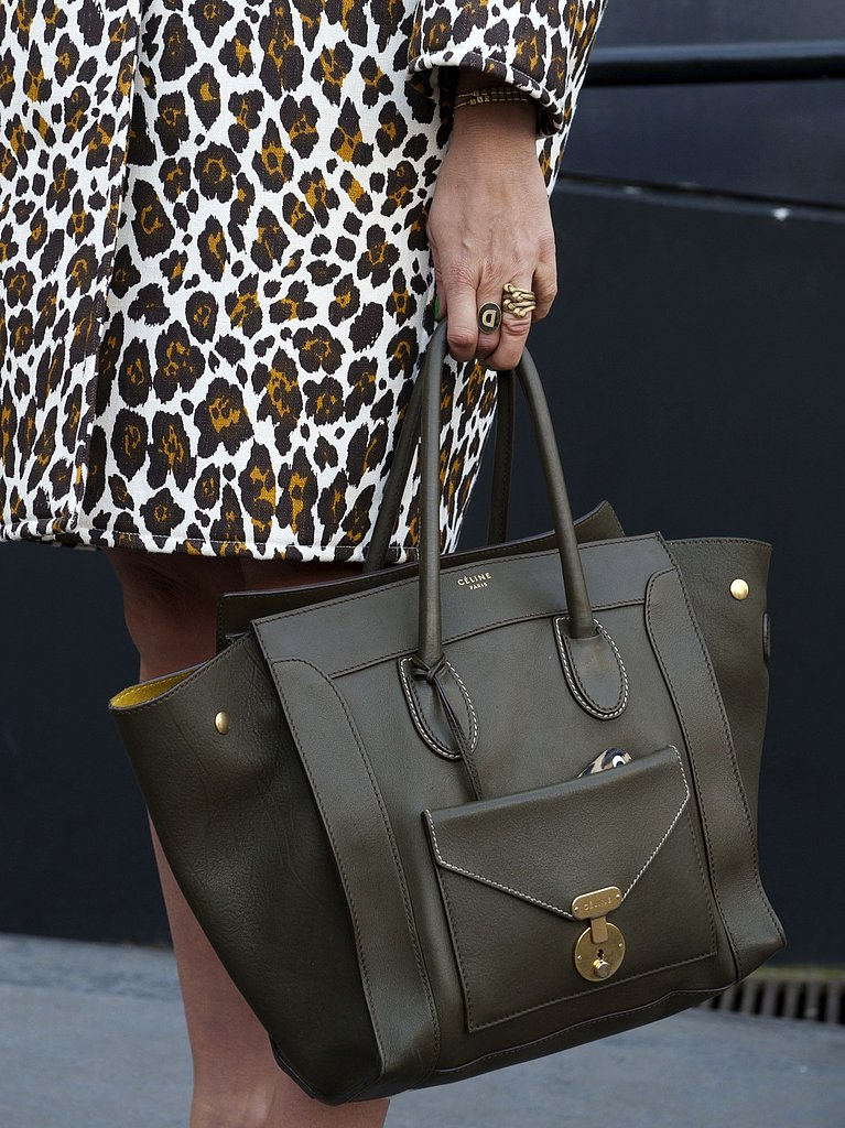 A sleek green Céline bag tempered a bold leopard-print coat.