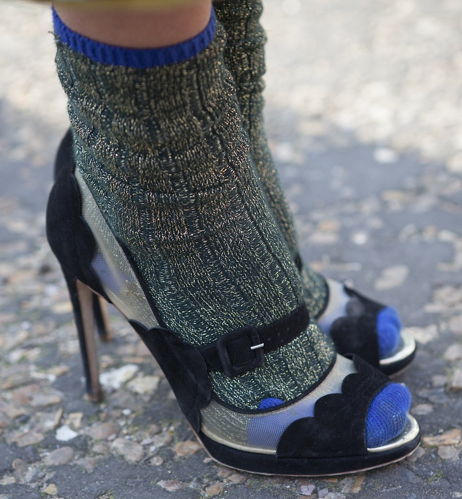 This LFW attendee paired slouchy socks with a pair of peep-toe sandals.