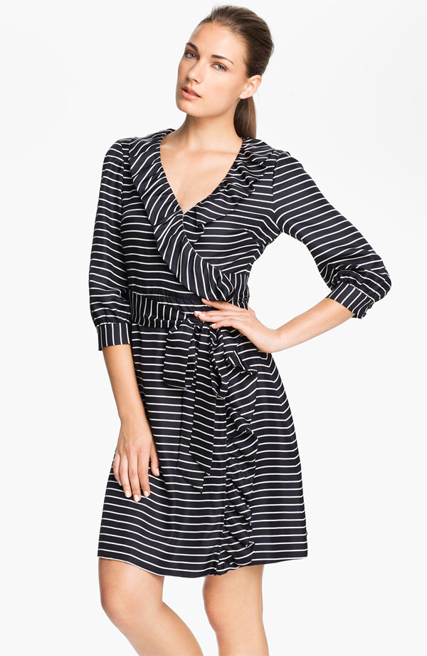 Kate Spade's Daniella Stripe Silk Wrap Dress ($428) may not be designed for expectant mamas, but it works great for them, too. With a higher neckline than a traditional wrap dress and a hook-and-eye closure at the neck, it can accommodate growing bustlines as well.