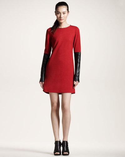 10 Crosby Derek Lam Leather-Sleeve Dress