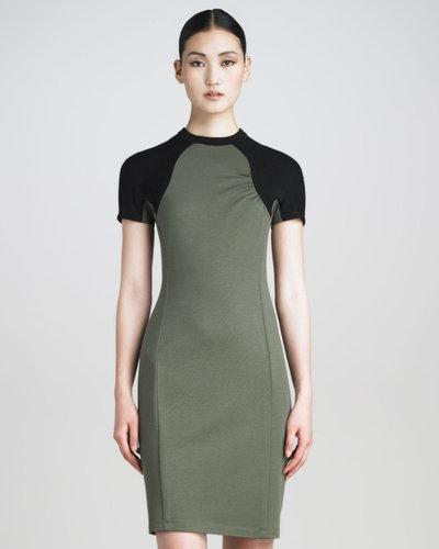 Jason Wu Contrast-Sleeve Tech Jersey Dress