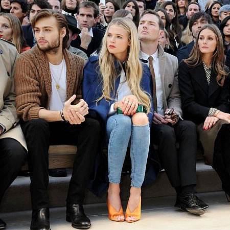 Gabriella Wilde Wears Rip Jeans Front Row at Burberry at LFW