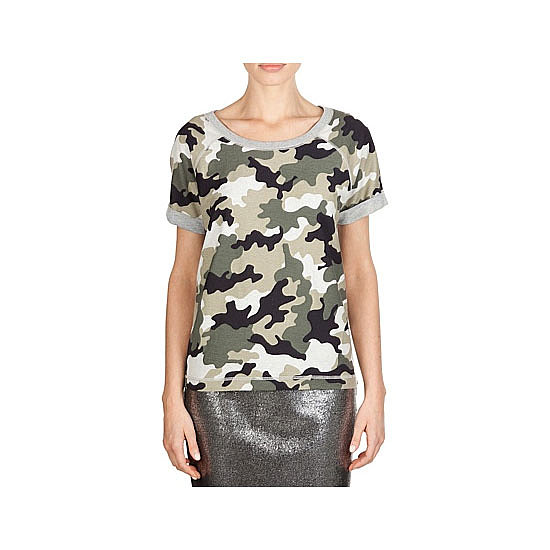 Make camouflage a bit chic with grey marle edging, then tuck into a black pencil and bust out the highest heels you own.  Tee, $59.95, Country Road