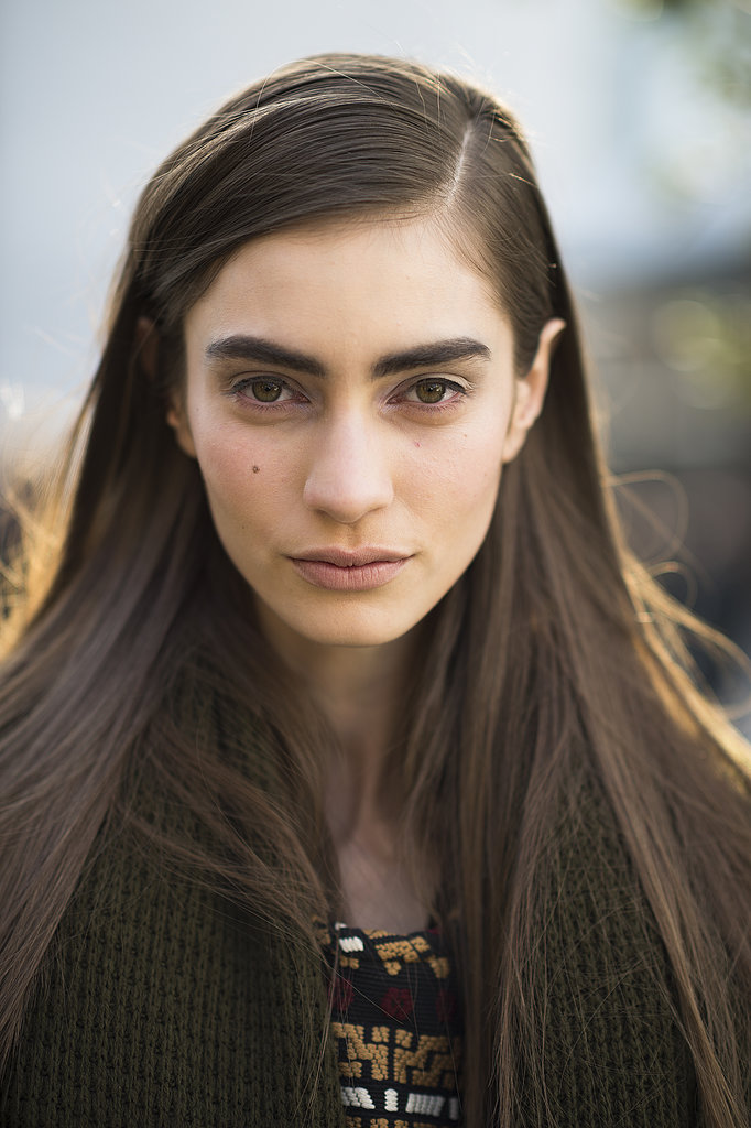 Marine Deleeuw kept it simple with a side part, bold brows, and a flick of eyeliner. Source: Le 21ème   Adam Katz Sinding