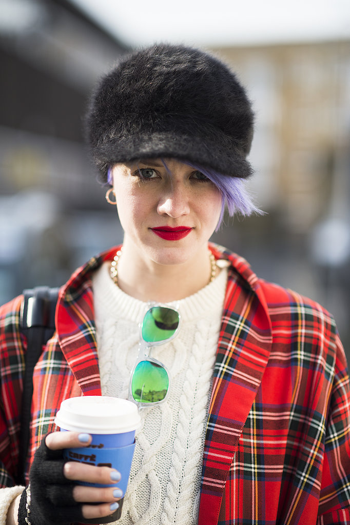 With baby blue on her nails and purple in her hair, blogger Marianne Theodorsen looked cute and cozy. Source: Le 21ème   Adam Katz Sinding
