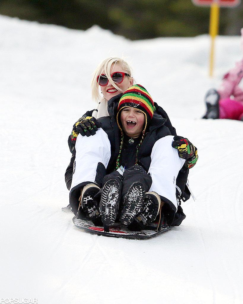 Gwen Stefani and her son Kingston went sledding together.