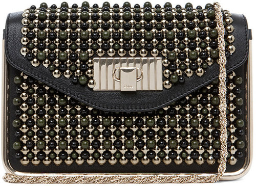 Chloe Sally Embroidered Small Shoulder Bag in Black