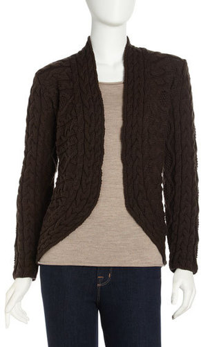Lafayette 148 New York Cutaway Cable Knit Cardigan, Sable
