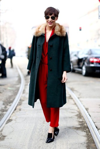 Brilliant color, a touch of fur, and a pair of loafers gave this mix an understated — but still eye-catching — feel.