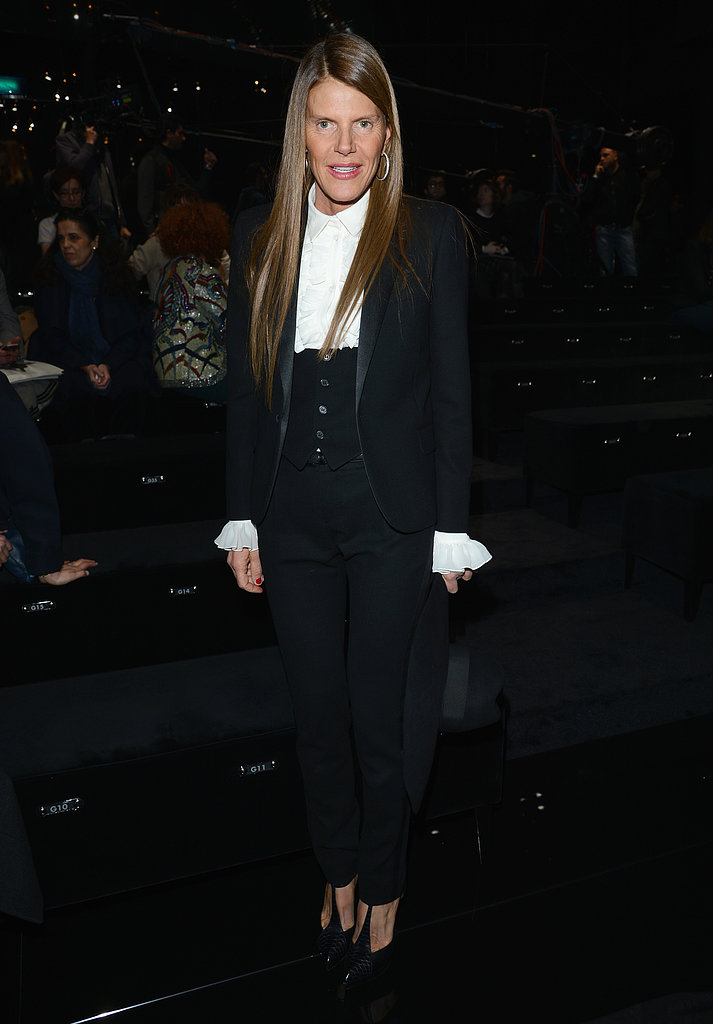 To kick off Milan Fashion Week, Anna Dello Russo worked a menswear-inspired ensemble with T-strap pumps at Gucci.