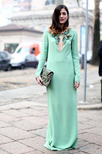 A seriously glam moment in a mint-green, embellished gown that's more fit for the catwalk or red carpet than it is for the street.