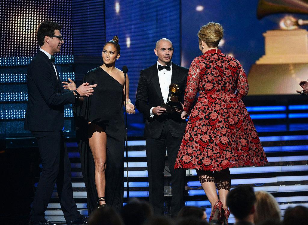 Jennifer Lopez stopped a Ukrainian prankster from accepting Adele's award during the Grammy Awards.