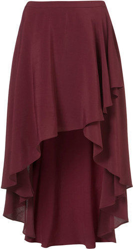 Oxblood Wrap Front Calf Skirt