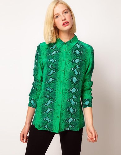 Equipment Brett One Pocket Snake Print Shirt