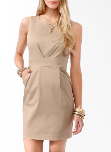 Pleated Tan Dress
