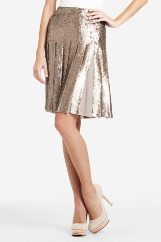 Edna Sequined Pleated Skirt