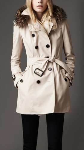 Short Cotton Blend Hooded Trench Coat