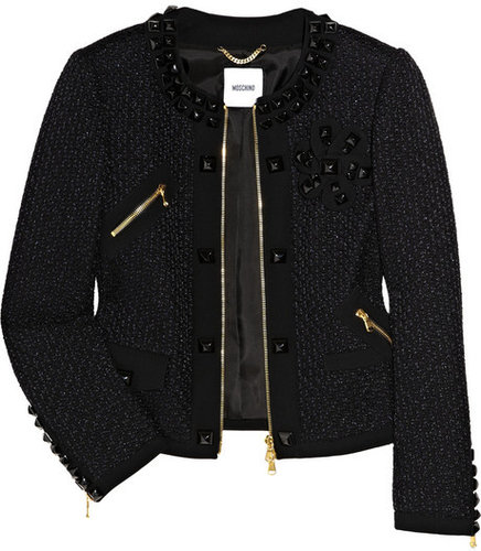 Moschino Crepe-trimmed tweed jacket