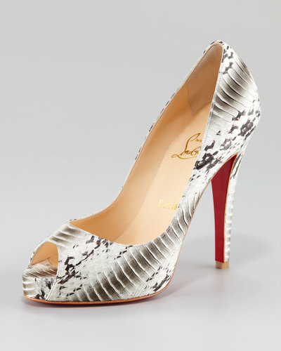 Christian Louboutin Very Prive Snakeskin Peep-Toe Pump
