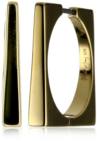 """Elizabeth and James """"Architecture"""" Gold Plated Square Hoop Earrings"""