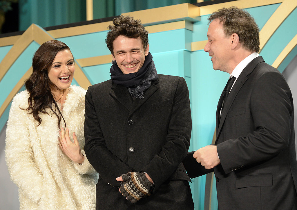 Rachel Weisz, James Franco and director Sam Raimi shared a laugh as they hit Japan to promote their new film, Oz: the Great and Powerful on February 20.