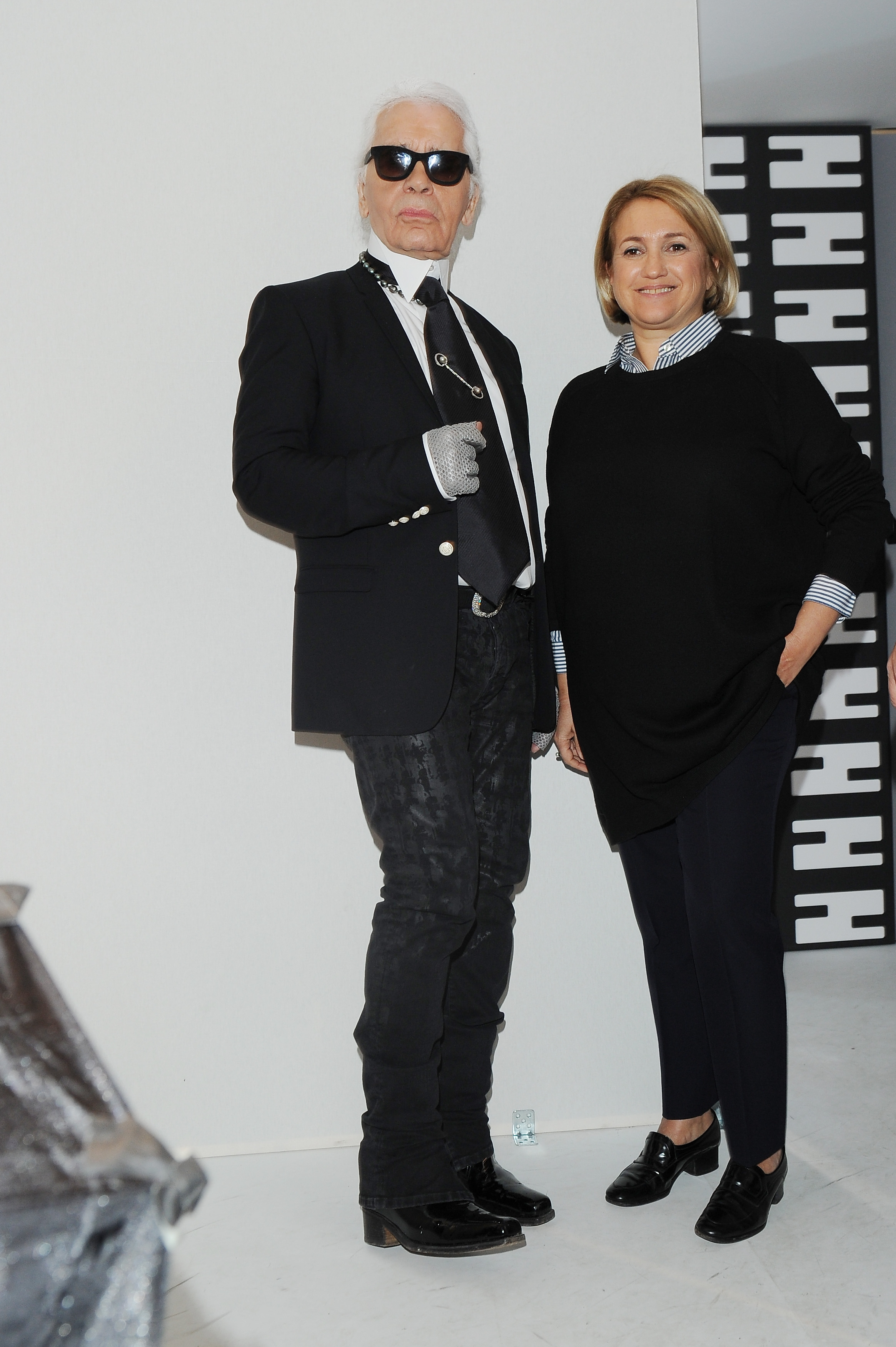Karl Lagerfeld and Silvia Venturini Fendi at th