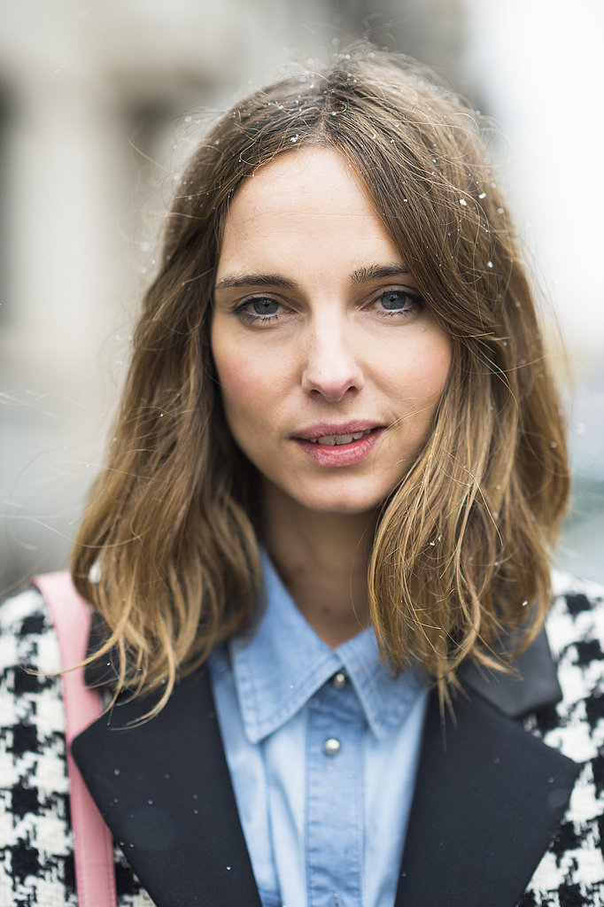 Candela Novembre's longer version of the lob is just as sweet, especially when paired with pink lips, cheeks, and a sprinkle of snow. Source: Le 21ème | Adam Katz Sinding
