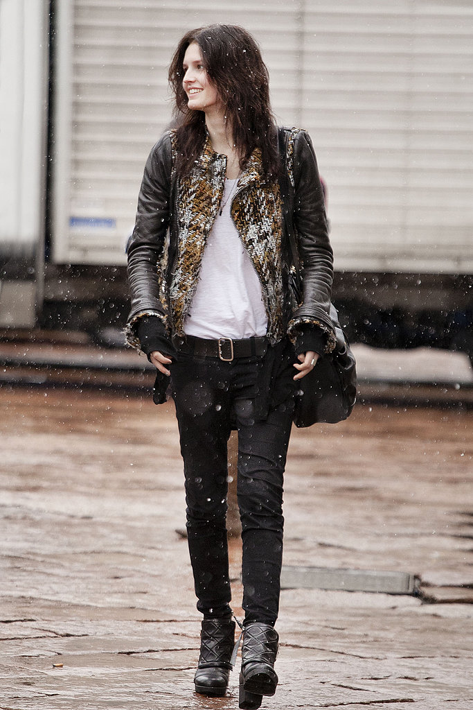 Tweed and leather added up to a cool-girl take on grunge.
