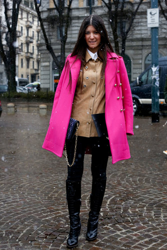 Her hot-pink coat looked even more vibrant against a buttery leather layer.