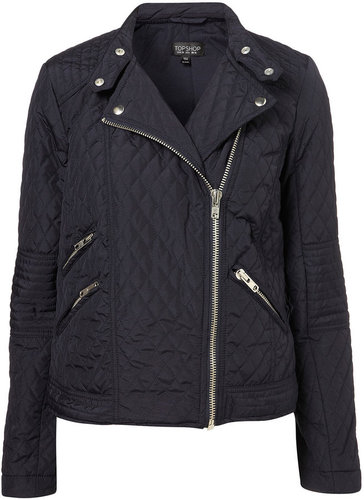 Quilted Nylon Biker Jacket