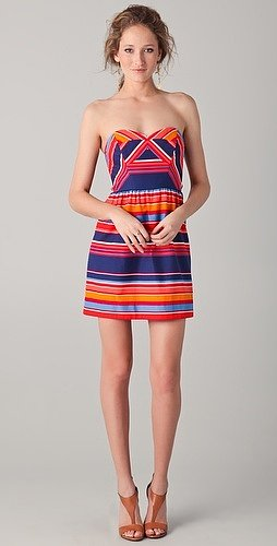Shoshanna Frannie Striped Strapless Dress
