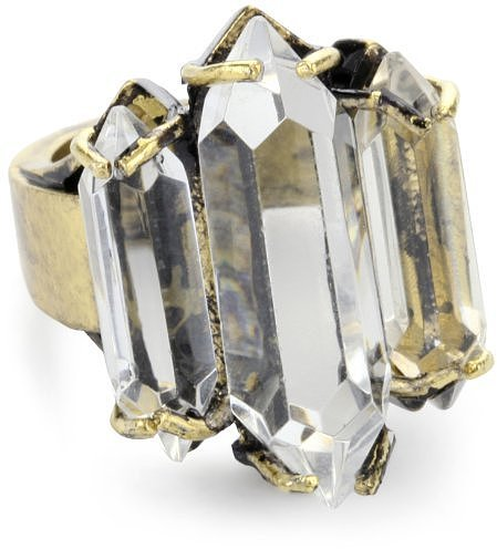 Low Luv by Erin Wasson Wide 14k Plated Triple Crystal Cocktail Ring