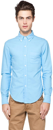 Band of Outsiders Button Down Collar Shirt in Columbia Blue Oxford