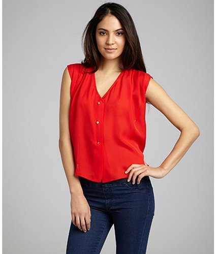 Dolce Vita tomato red silk 'Lisa' sleeveless button front blouse