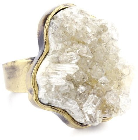 Low Luv by Erin Wasson 14k Plated Rough Crystal Cocktail Ring