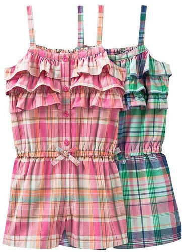 Oshkosh plaid romper - girls' 4-6x