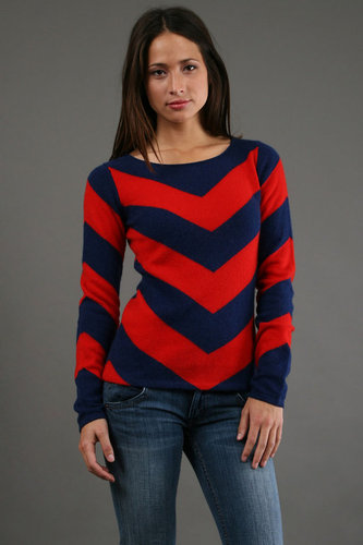 Minnie Rose Cashmere Chevron Stripe